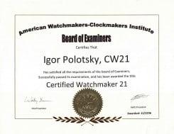 CW21 Certificate, Igor Polotsky